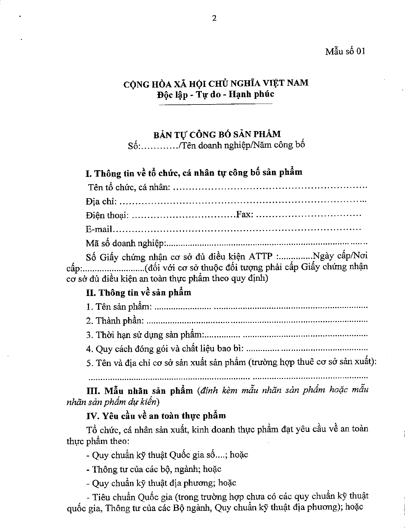 Bản tự công bố sản phẩm theo Nghị định 15