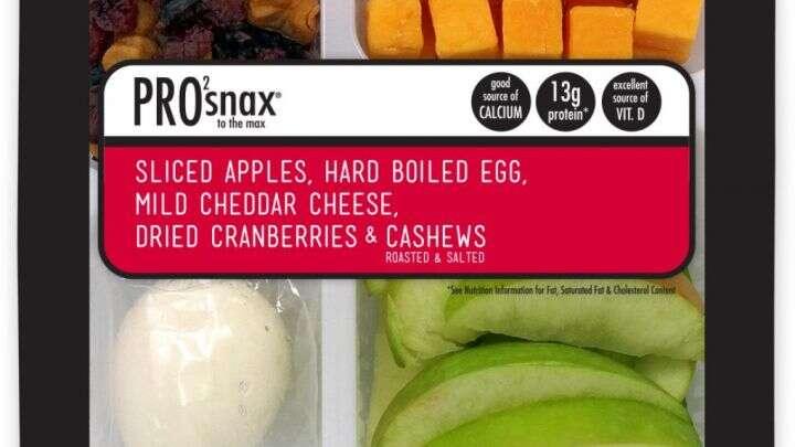 Sản phẩmPro2Snax Táo Max Granny / Trứng luộc chín/ Phô mai Cheddar/ Hạt điều và nam việt quất khô của Reichel Foods bị thu hồi.