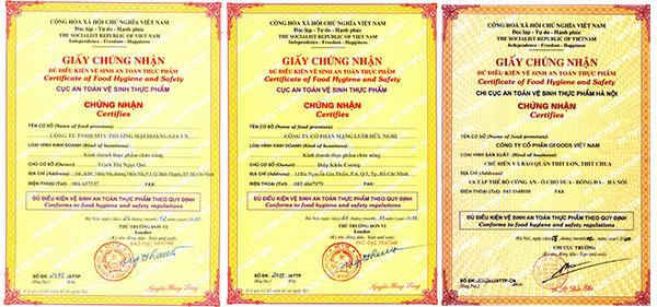 Mẫu giấy chứng nhận an toàn thực phẩm đã thực hiện cho khách hàng